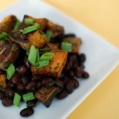 Lime Cilantro Sweet Potatoes with Black Beans