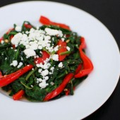 Spinach with Pan Roasted Red Peppers and Goat Cheese