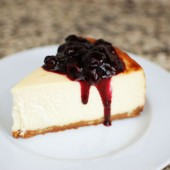 New York Style Cheesecake with Blueberry Sauce
