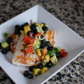 Blueberry Salsa over Grilled Mahi Mahi