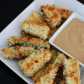 Baked Zucchini Sticks with Caramelized Onion Dipping Sauce