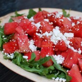 Watermelon Arugula Goat Cheese Salad