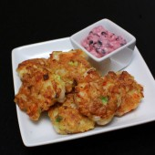 Shrimp Fritters with Blackberry Dipping Sauce