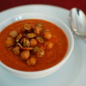 Fire Roasted Tomato Soup with Roasted Chickpeas