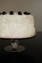 Coconut Almond Cake with Blackberry Lime Curd Filling