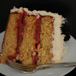 Coconut Almond Layer Cake with Blackberry Lime Curd
