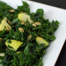 Massaged Kale Salad with Pear and Pumpkin Seeds