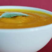 Roasted Pumpkin and Squash Soup with Sage