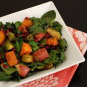 Roasted Vegetable and Spinach Salad