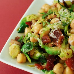 Warm Chickpea Mushroom and Brussels Sprouts Salad