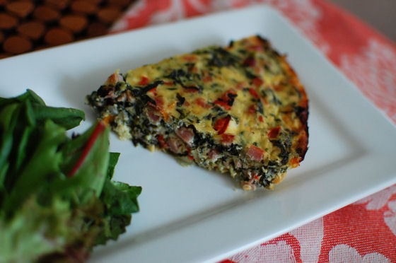 Ham, Spinach, Goat Cheese, and Bell Pepper Quiche