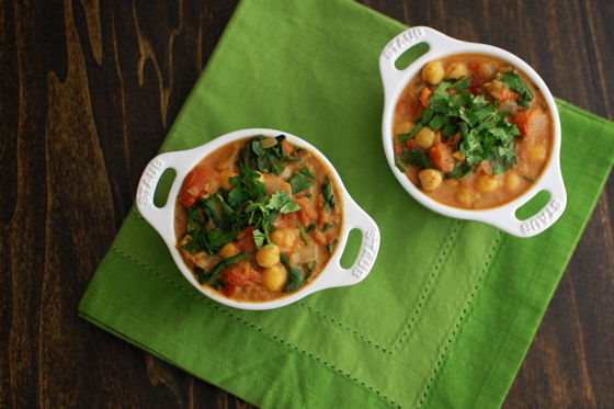 Indian Spiced Chickpeas with Spinach