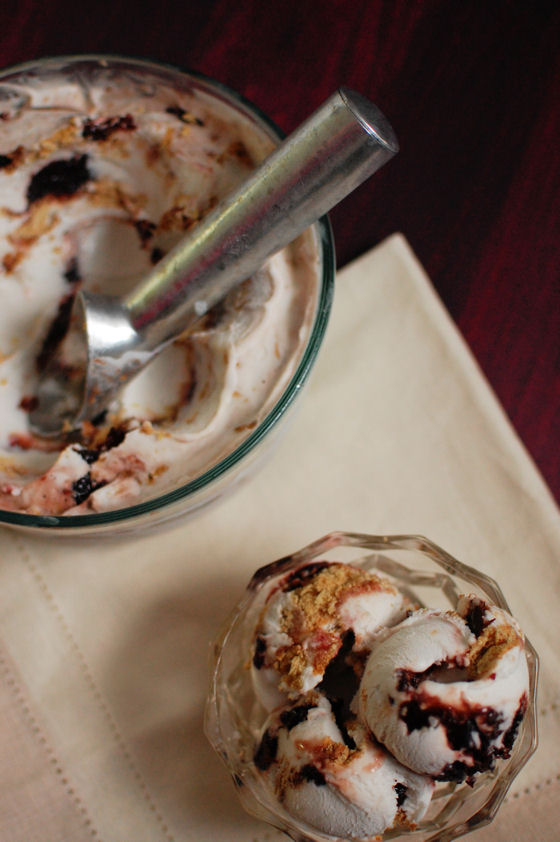 Caramelized Cherry Goat Cheesecake Ice Cream