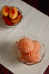 Peach Champagne Sorbet with Thyme