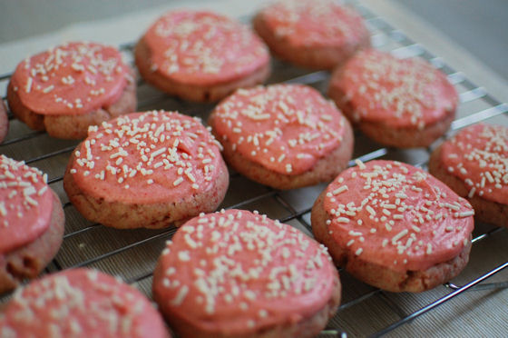 Frosted Strawberry Sugar Cookies