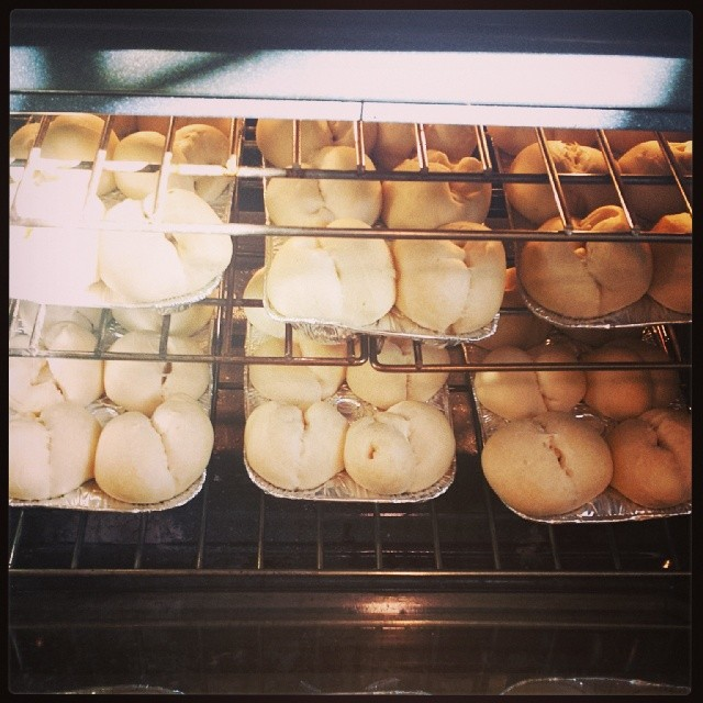 Rolls baking in the oven